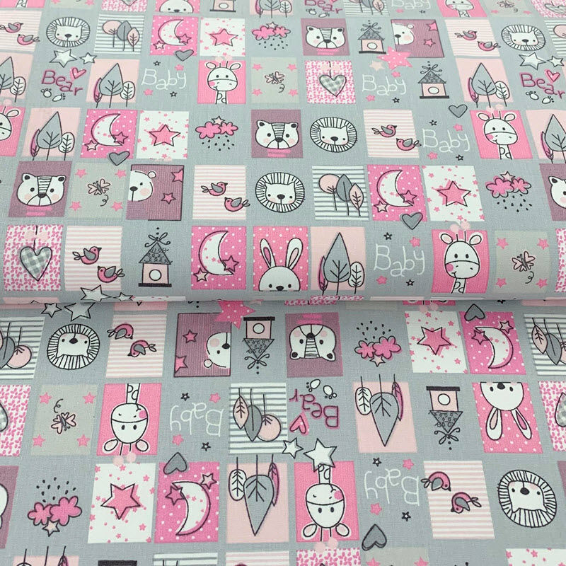 Bavlněná látka Sweet animals patchwork grey