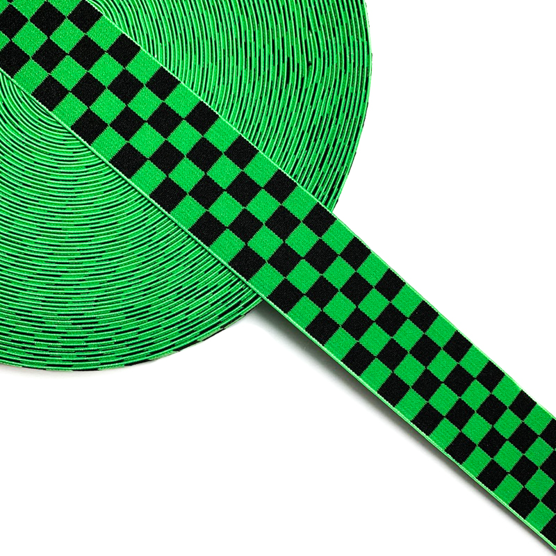 Guma hladká 4 cm Chequered jacquard apple green