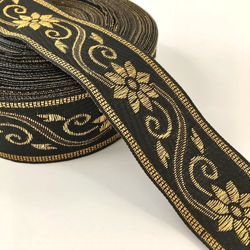 Jacquard Flower black gold