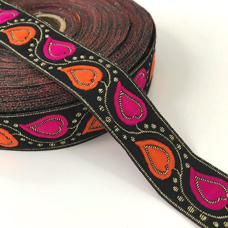 Jacquard Leaves black orange