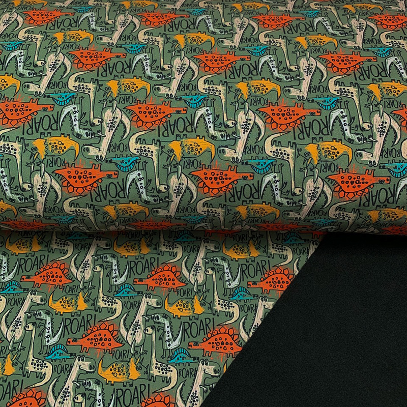 Softshell zimní The dinos are back green digital print