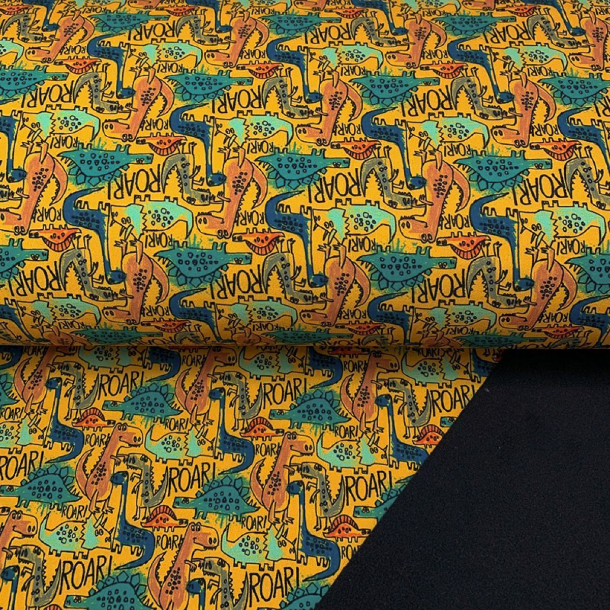 Softshell zimní The dinos are back yellow digital print