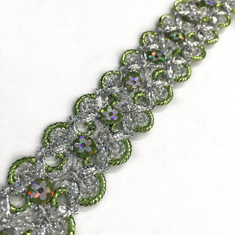 Stuha Sequin green
