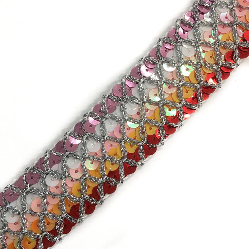 Stuha Sequin MULTI red