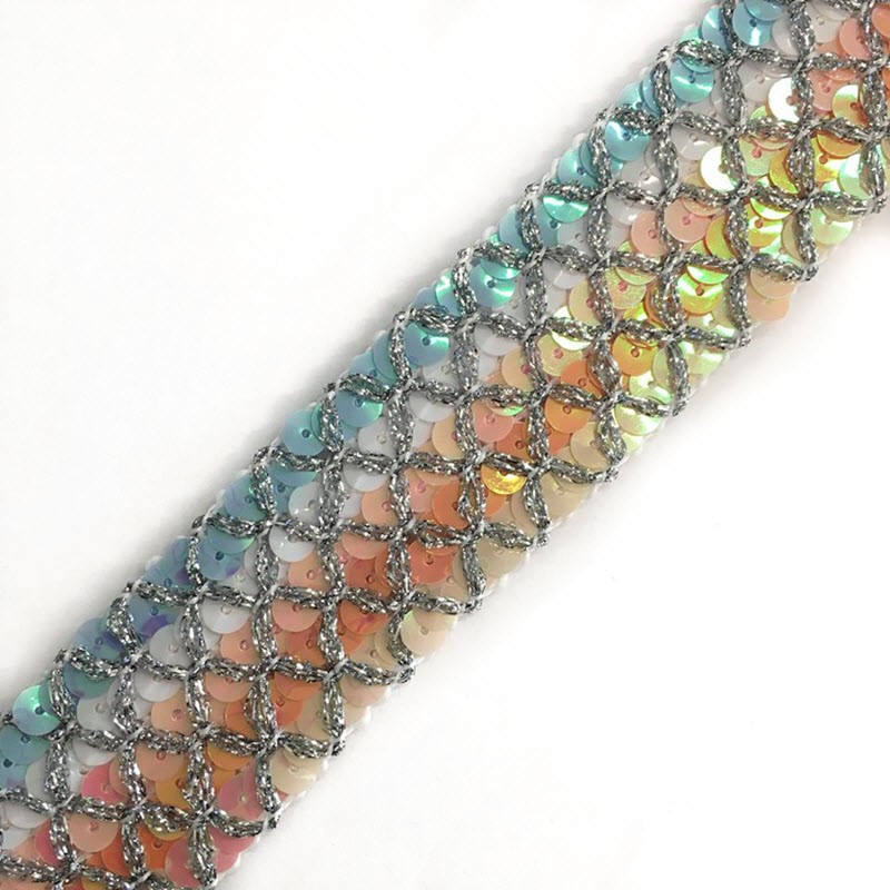 Stuha Sequin MULTI rose