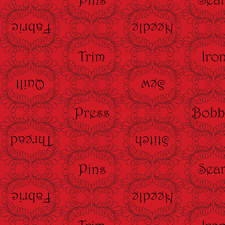 Bavlněná látka THE QUILTED COTTAGE Sewing words red